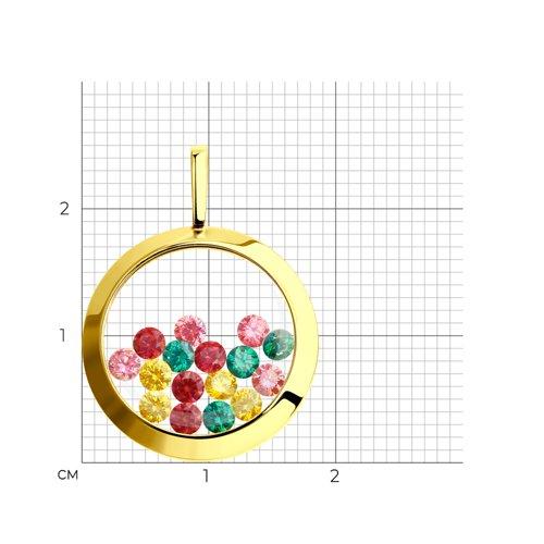 Подвеска из желтого золота с минеральным стеклом и жёлтыми, зелеными, красными и розовыми фианитами (034925-2) - фото №2