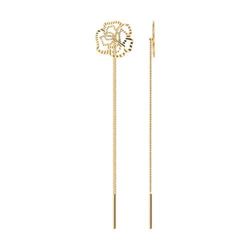 Серьги-цепочки из золота с алмазной гранью