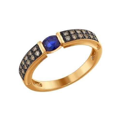 Кольцо из золота с коньячными бриллиантами и сапфиром