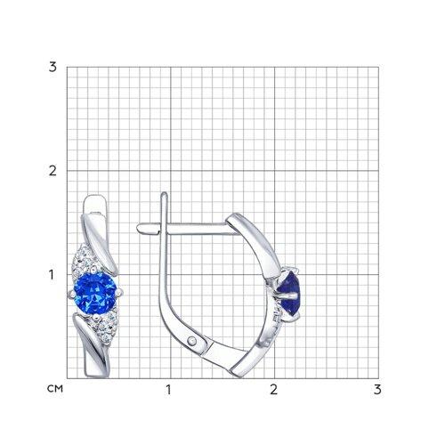 Серьги из серебра с синими фианитами (94022385) - фото №2