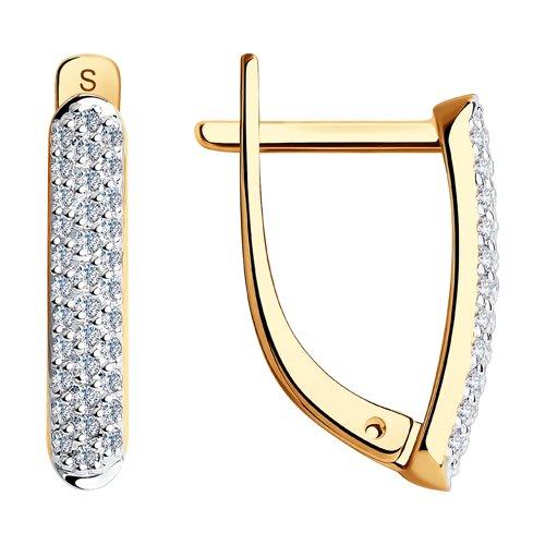 Серьги из золота с бриллиантовой дорожкой