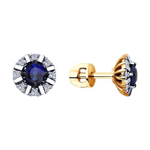 Серьги из золота с бриллиантами и синими корунд (синт.) (6022141) - фото
