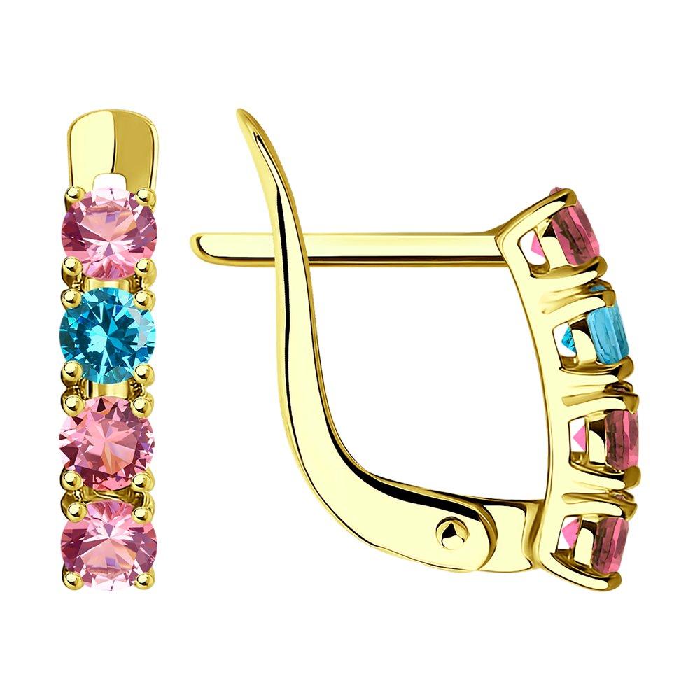 Фото - Серьги SOKOLOV из желтого золота с зелеными и розовыми фианитами подвеска sokolov из золота с розовыми зелеными и красными фианитами