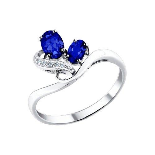 Фото - Кольцо SOKOLOV из белого золота с бриллиантами и сапфирами кольцо с сапфирами и бриллиантами из розового золота valtera 82404