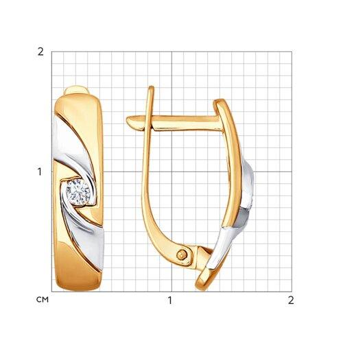 Серьги из комбинированного золота с бриллиантами (1020869) - фото №2