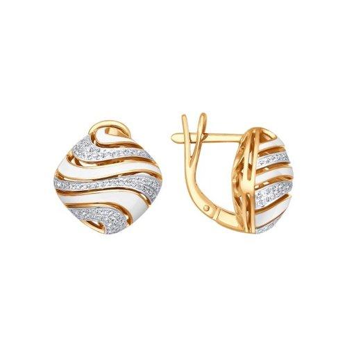 цены Серьги SOKOLOV из золота с эмалью с бриллиантами