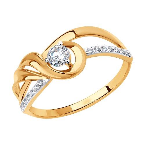 Кольцо из золота с фианитами (018633) - фото