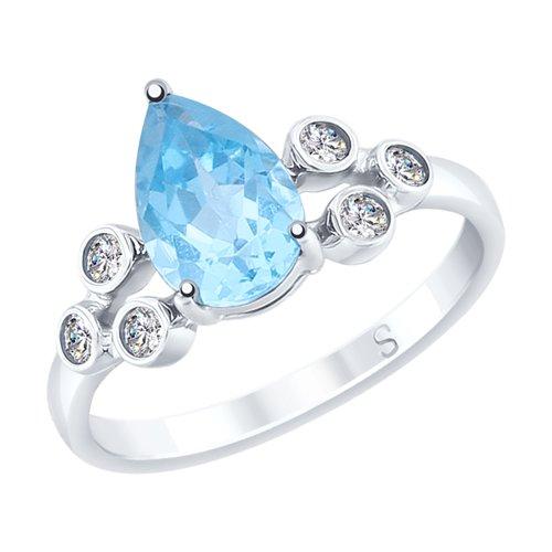Кольцо из серебра с топазом и фианитами (92011708) - фото