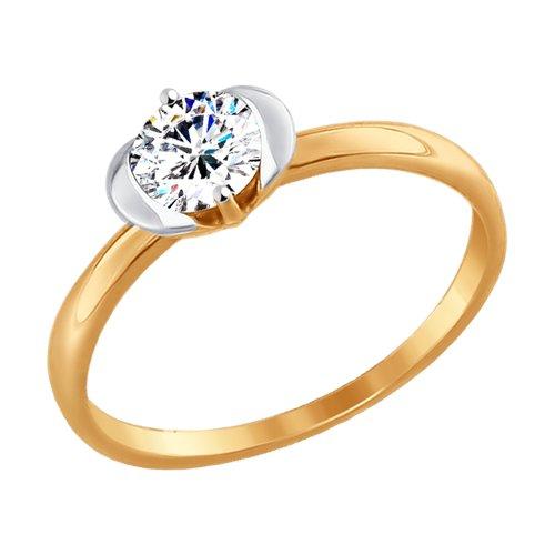 Кольцо из золота с фианитом (017444-4) - фото