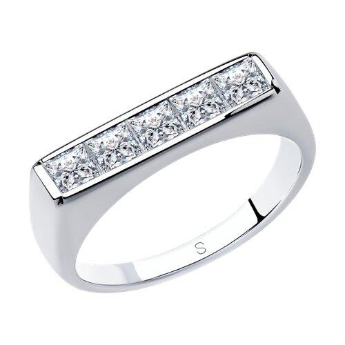 Кольцо из серебра с фианитами (94013103) - фото