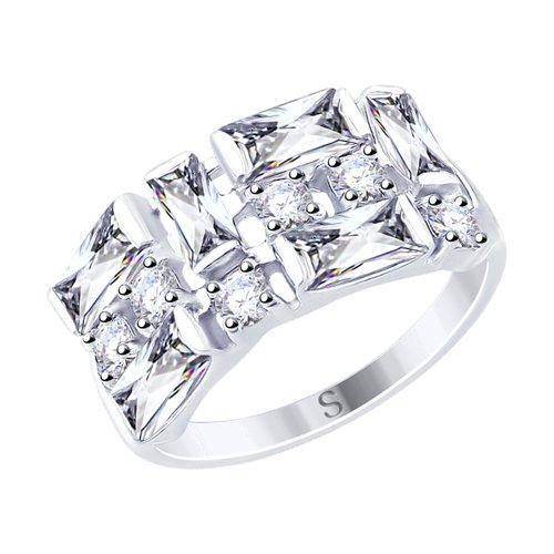 Кольцо из серебра с фианитами (94012456) - фото