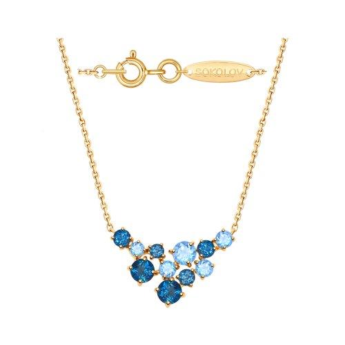 Колье из золота с голубыми и синими топазами 770140 SOKOLOV фото