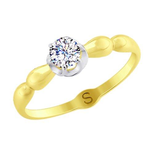 Кольцо из желтого золота со Swarovski Zirconia (81010368-2) - фото