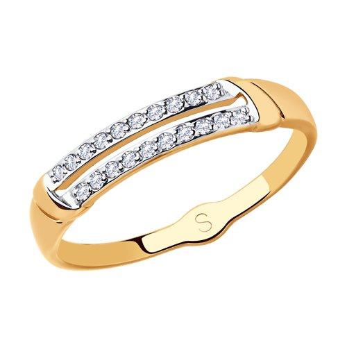 Кольцо из золота с фианитами (018080) - фото