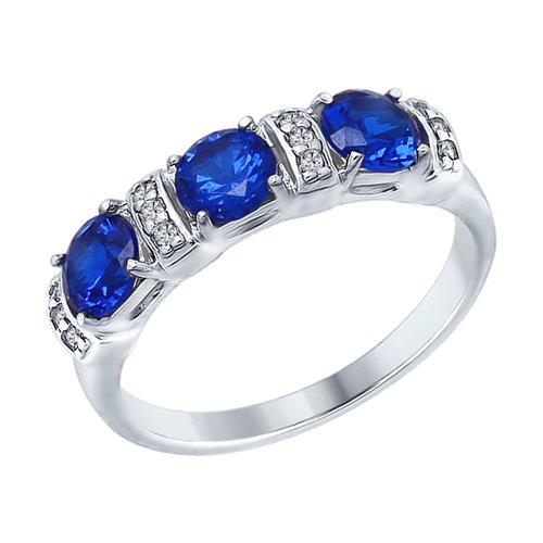 Кольцо из серебра с бесцветными и синими фианитами (94012397) - фото