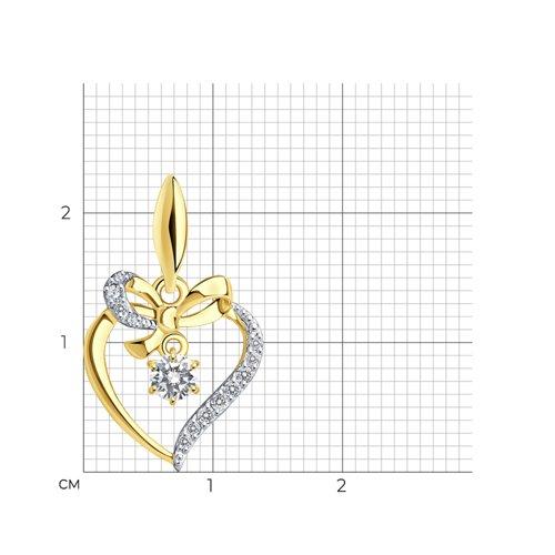 """Подвеска """"Сердечко"""" из желтого золота с фианитами 034797-2 SOKOLOV фото 2"""