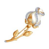 Золотая брошь «Белая роза» с бриллиантами