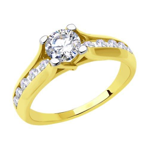 Кольцо из желтого золота с фианитами (018441-2) - фото