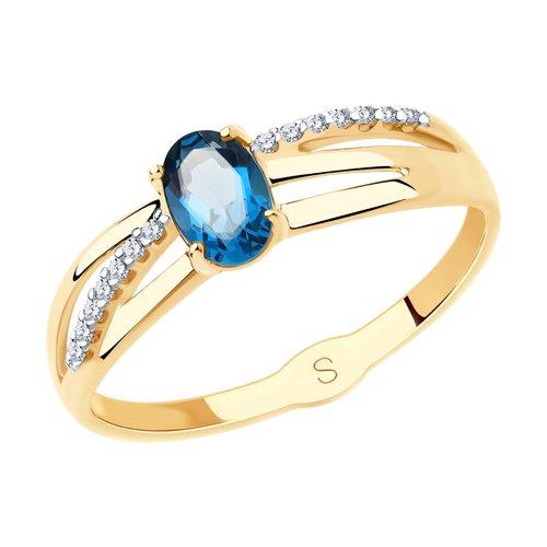 Кольцо из золота с синим топазом и фианитами (715609) - фото