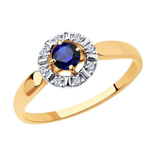 Кольцо из золота с синим корунд (синт.) и фианитами (715518) - фото