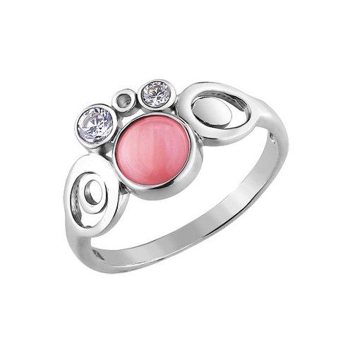 Фото - Серебряное кольцо с кошачьим глазом SOKOLOV серебряное кольцо с сердечками sokolov