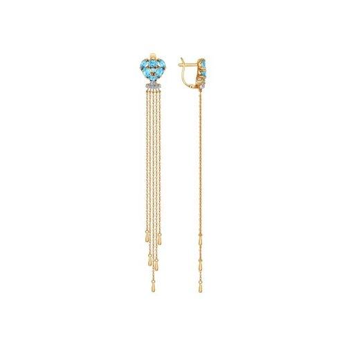 Серьги длинные SOKOLOV из золота с топазами и фианитами