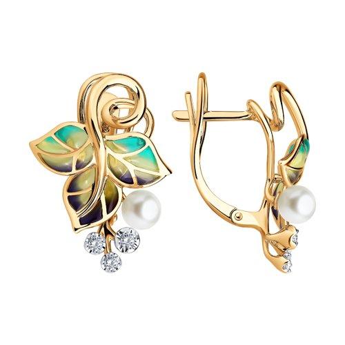 Серьги из золота с эмалью с бриллиантами и жемчугом