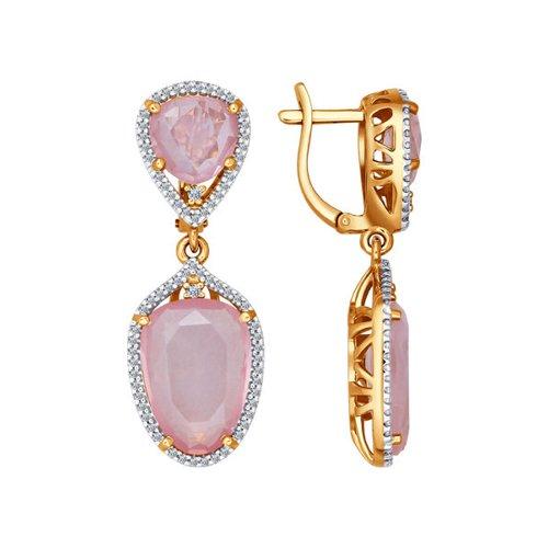 цена на Золотые серьги с розовым кварцем и фианитами SOKOLOV