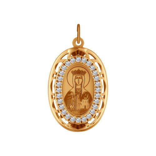 Иконка из золота с лазерной обработкой с фианитами (103532) - фото