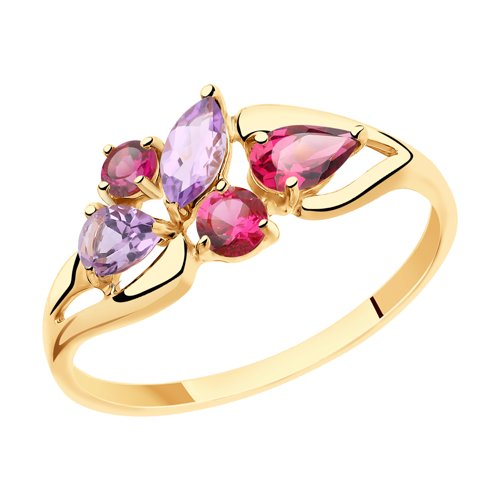 Кольцо из золота с полудрагоценными вставками