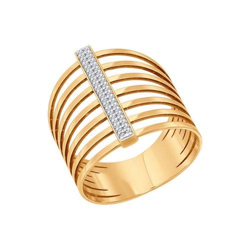 Широкое золотое кольцо с фианитами SOKOLOV золотое кольцо ювелирное изделие 01k626318