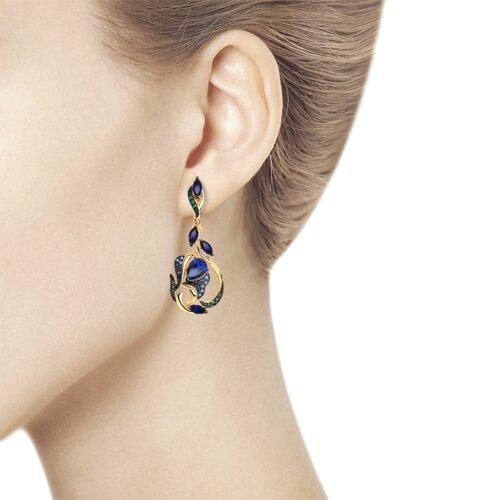 Серьги из золота с синими корунд (синт.) и фианитами (725840) - фото №2