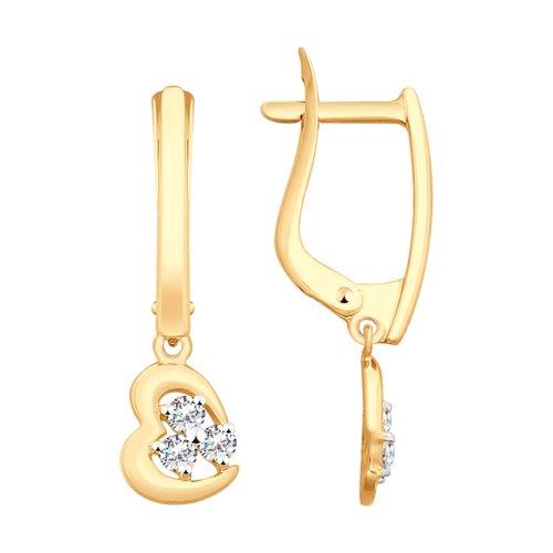 Серьги из золота с фианитами (027978) - фото