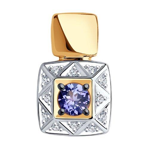 Подвеска из золота с бриллиантами и танзанитом