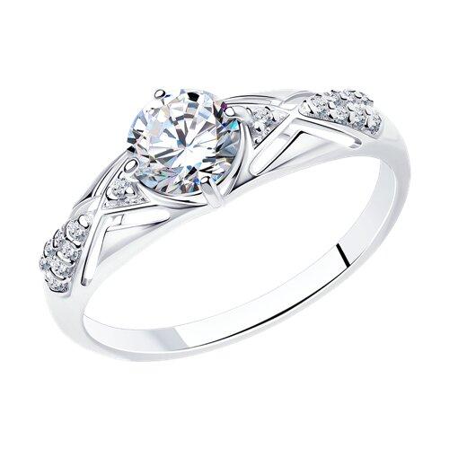 Кольцо из серебра с фианитами (94012216) - фото