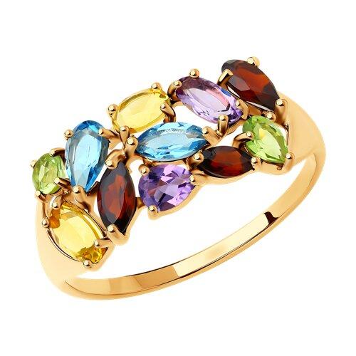 Кольцо из золота с полудрагоценными вставками (714683) - фото