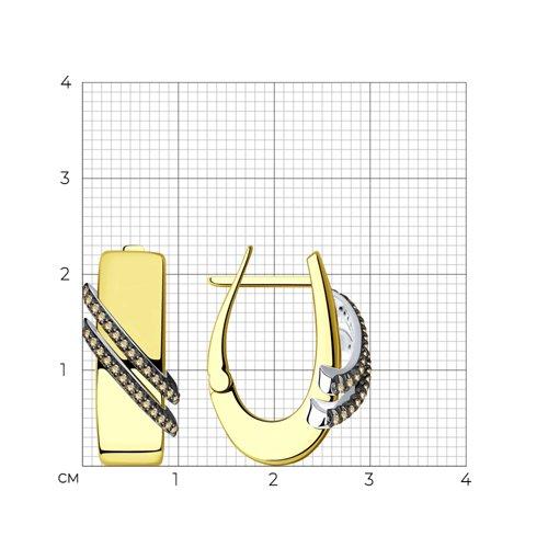 Серьги из желтого золота с бриллиантами 1021657 SOKOLOV фото 2
