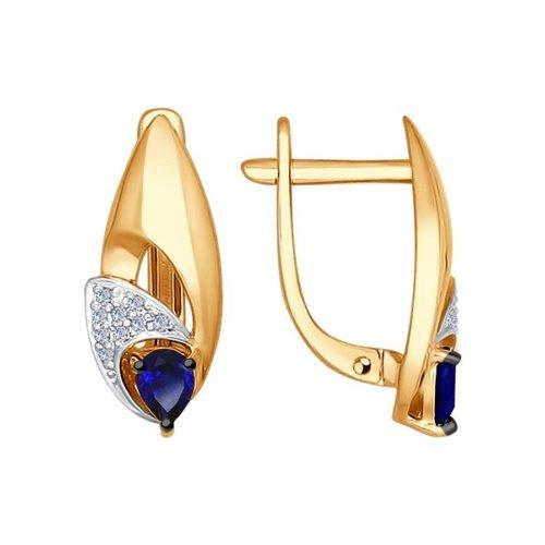 Серьги из золота с бриллиантами и корундами сапфировыми (синт.)