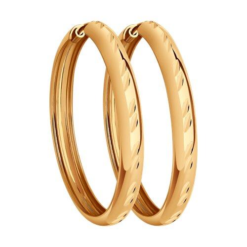 """Золотые серьги """"Конго"""", диаметром 30 мм. 140041 sokolov фото"""