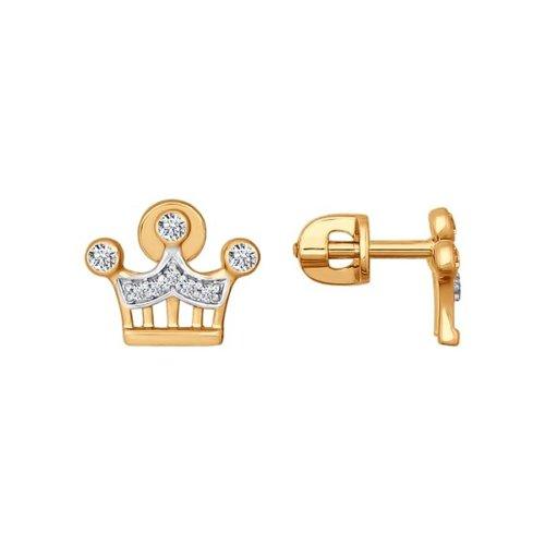 Серьги-пусеты из золота с фианитами (026661) - фото