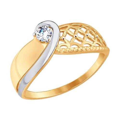 Кольцо из золота с фианитом (017553-4) - фото