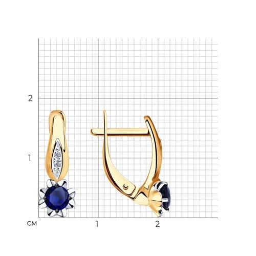 Серьги из золота с бриллиантами и сапфирами 2020931 SOKOLOV фото 2