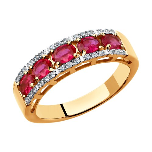 Кольцо из золота с бриллиантами и рубинами 4010605 sokolov фото