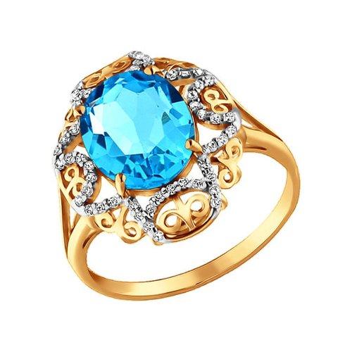 Ажурное кольцо с крупным голубым топазом SOKOLOV ажурное кольцо с крупным голубым топазом sokolov