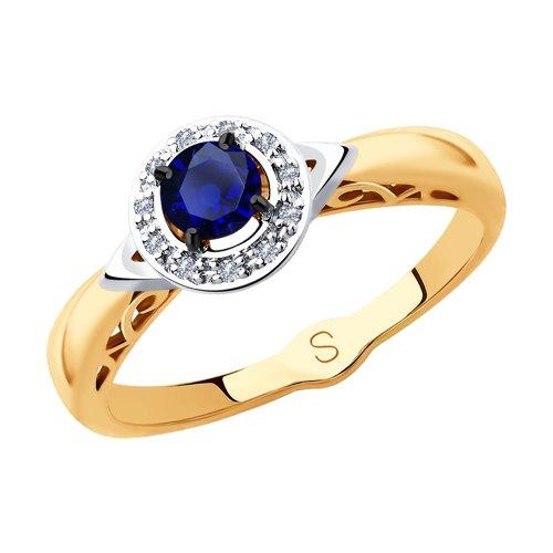 Кольцо из золота с бриллиантами и синим корунд (синт.) (6012158) - фото