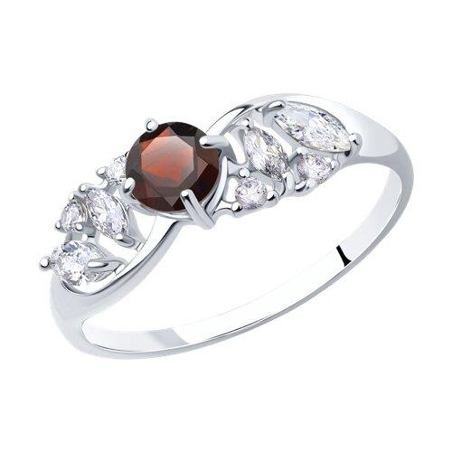 Кольцо из серебра с гранатом и фианитами (92011668) - фото