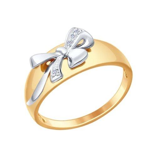 Кольцо из золота с бантиком
