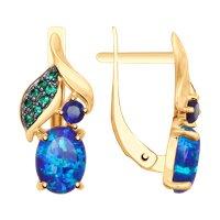 Серьги из золота с синими корундами (синт.), синими опалами и зелеными фианитами