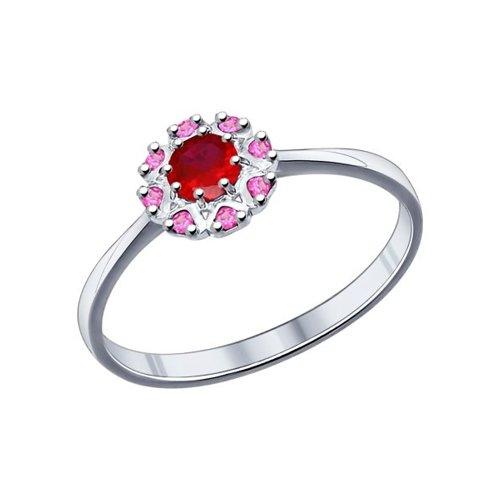 Кольцо из серебра с корундом рубиновым (синт.) и красными фианитами