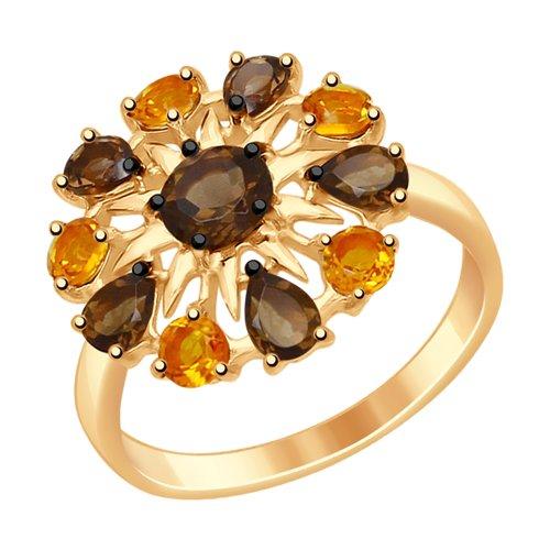 Кольцо из золочёного серебра с полудрагоценными вставками (92011411) - фото